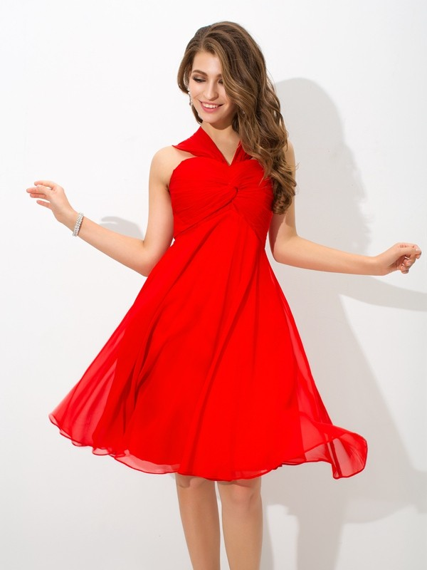 A-Line Chiffon Straps Sleeveless Knee-Length With Pleats Dresses
