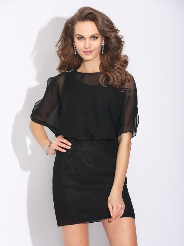 A-Line Chiffon Jewel 1/2 Sleeves Short/Mini With Beading Dresses