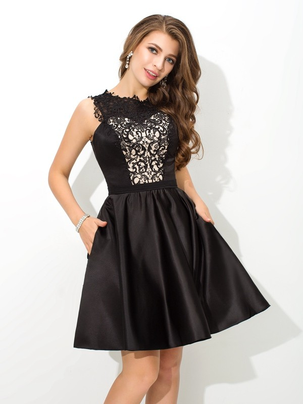 A-Line Satin Scoop Sleeveless Short/Mini With Lace Dresses