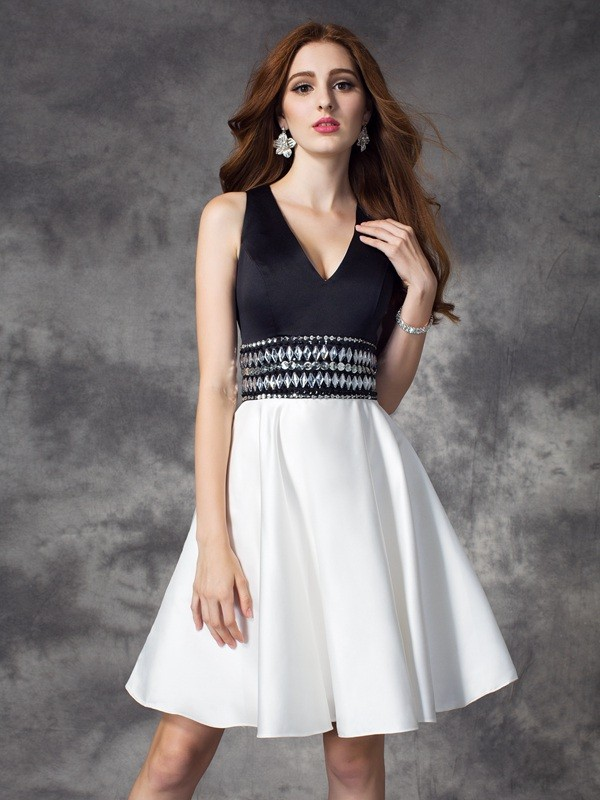 A-Line Satin V-neck Sleeveless Short/Mini With Rhinestone Dresses
