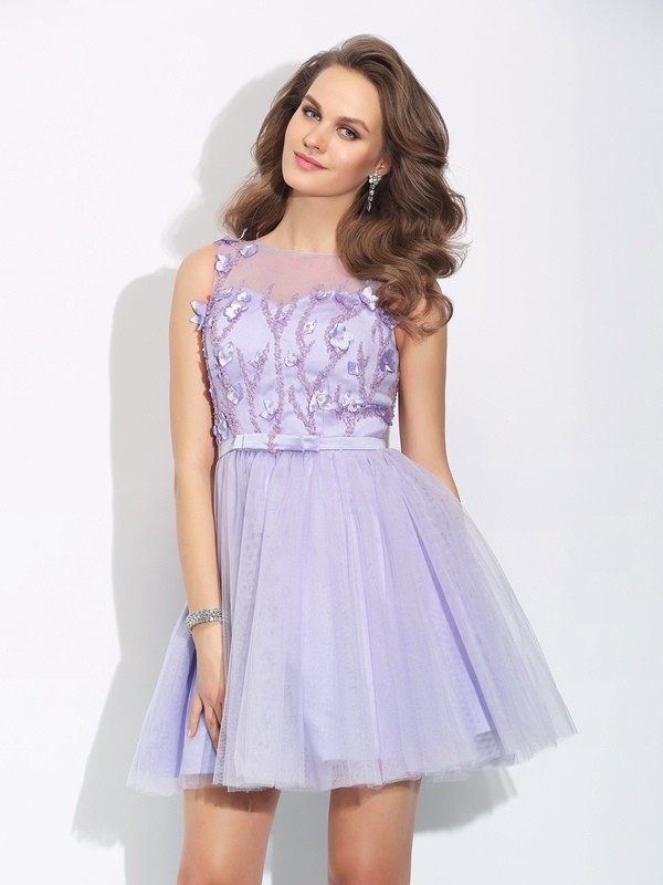 A-Line Satin Bateau Sleeveless Short/Mini With Applique Dresses