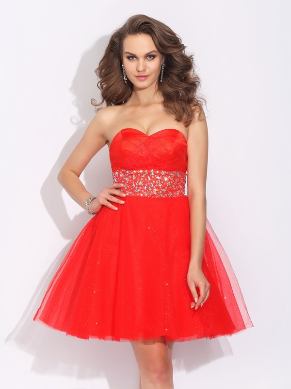 A-Line Net Sweetheart Sleeveless Short/Mini With Rhinestone Dresses