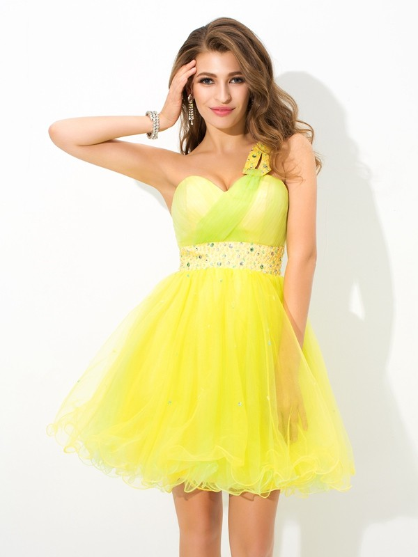A-Line Net One-Shoulder Sleeveless Short/Mini With Beading Dresses