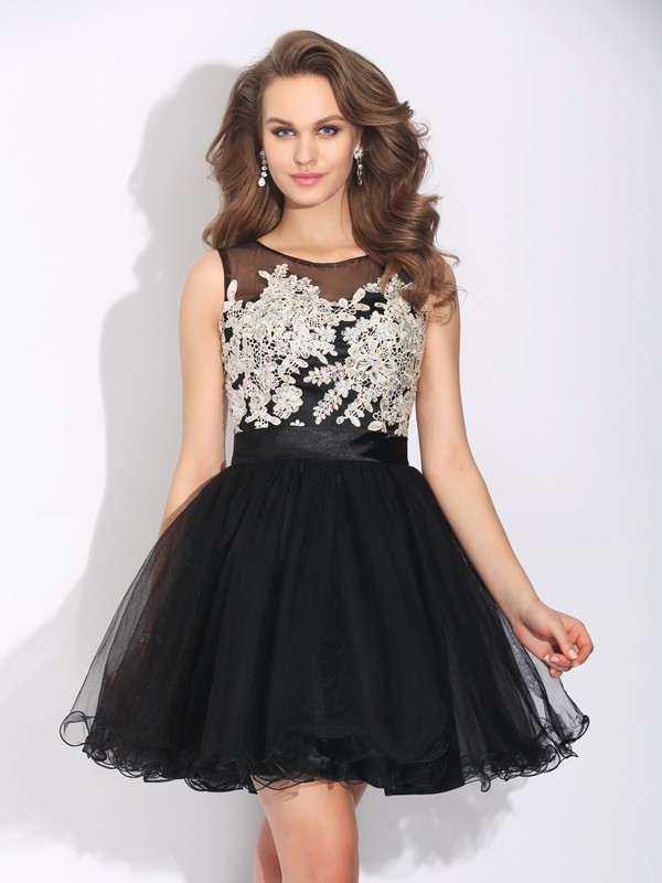 A-Line Net Scoop Sleeveless Short/Mini With Ruffles Dresses