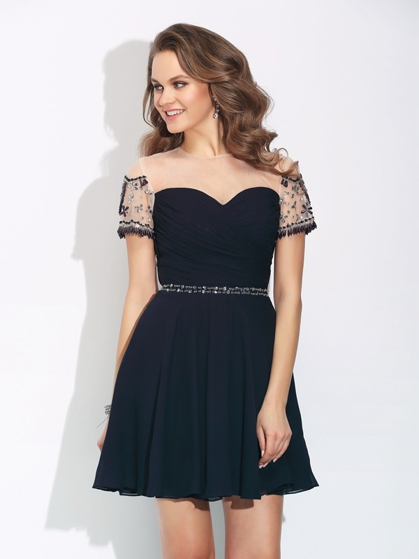 A-Line Chiffon Jewel Short Sleeves Short/Mini With Beading Dresses