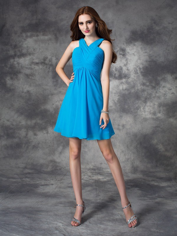 A-Line Silk like Satin V-neck Sleeveless Short/Mini With Ruffles Dresses