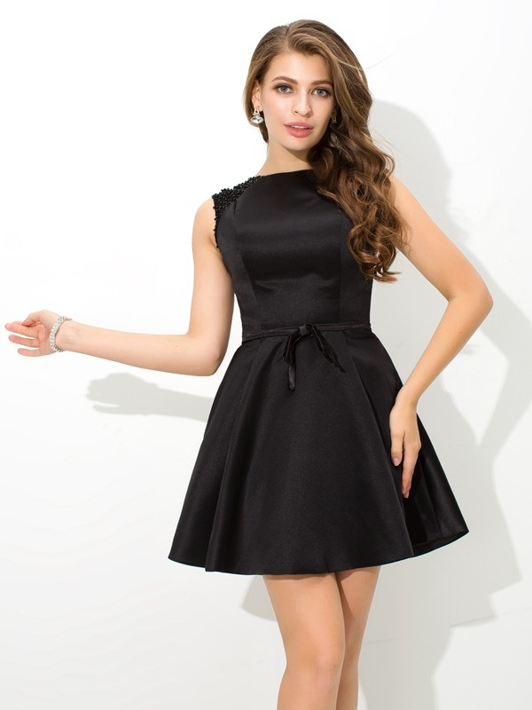 A-Line Satin High Neck Sleeveless Short/Mini With Sash/Ribbon/Belt Dresses