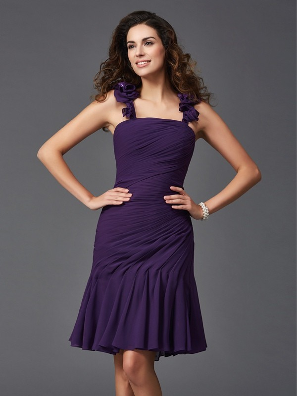 Sheath Chiffon Straps Sleeveless Short/Mini With Ruched Dresses