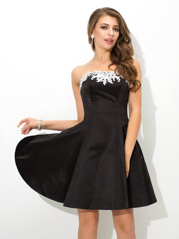 A-Line Satin Strapless Sleeveless Short/Mini With Applique Dresses