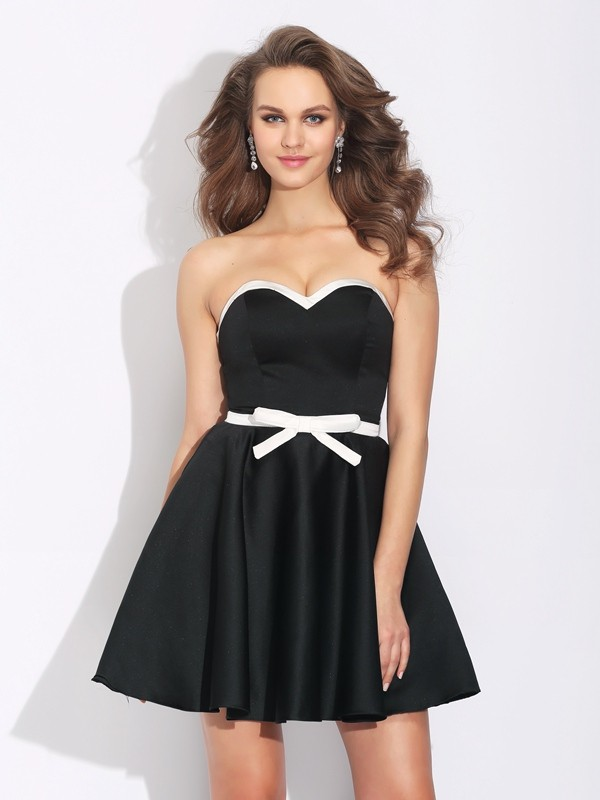 A-Line Satin Sweetheart Sleeveless Short/Mini With Bowknot Dresses