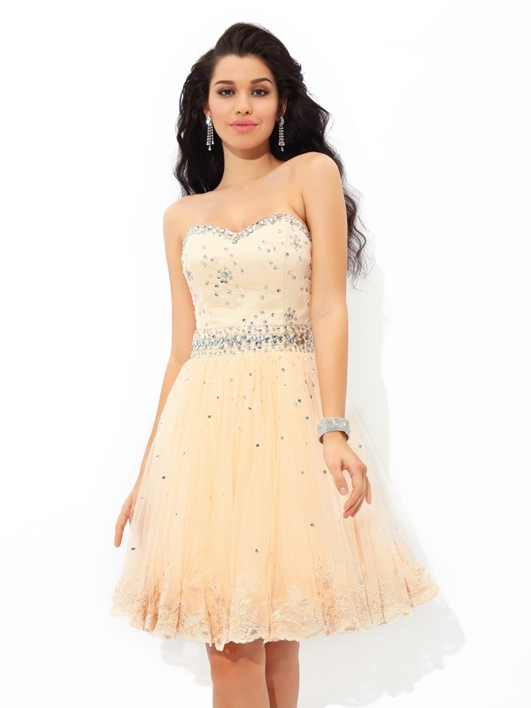 A-Line Satin Sweetheart Sleeveless Short/Mini With Beading Dresses