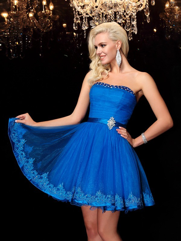 A-Line Net Strapless Sleeveless Short/Mini With Beading Dresses
