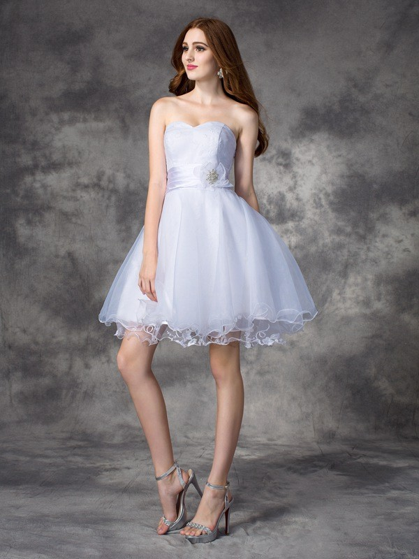 A-Line Organza Sweetheart Sleeveless Short/Mini With Ruffles Dresses