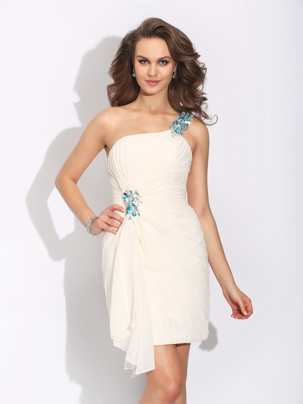 Sheath Chiffon One-Shoulder Sleeveless Short/Mini With Beading Dresses