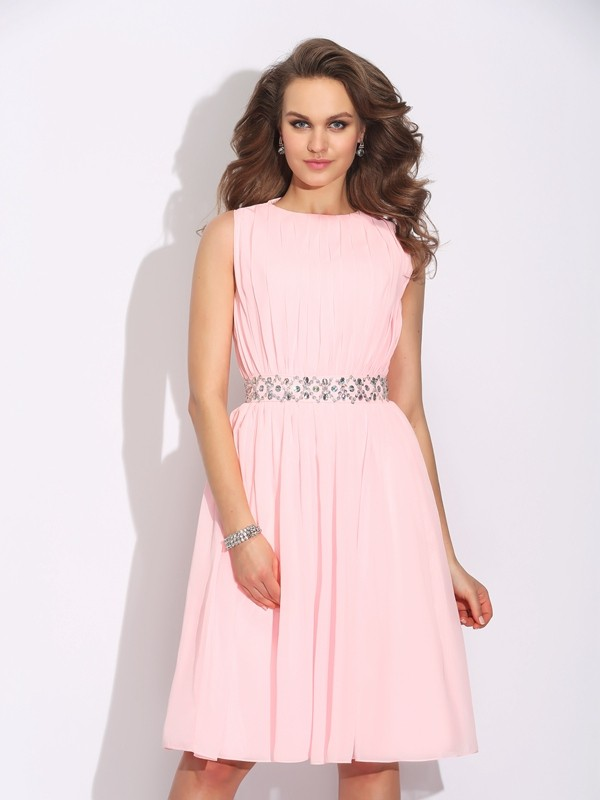 A-Line Chiffon Jewel Sleeveless Knee-Length With Ruffles Dresses