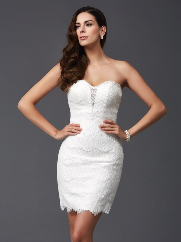 Sheath Lace Sweetheart Sleeveless Short/Mini With Lace Dresses