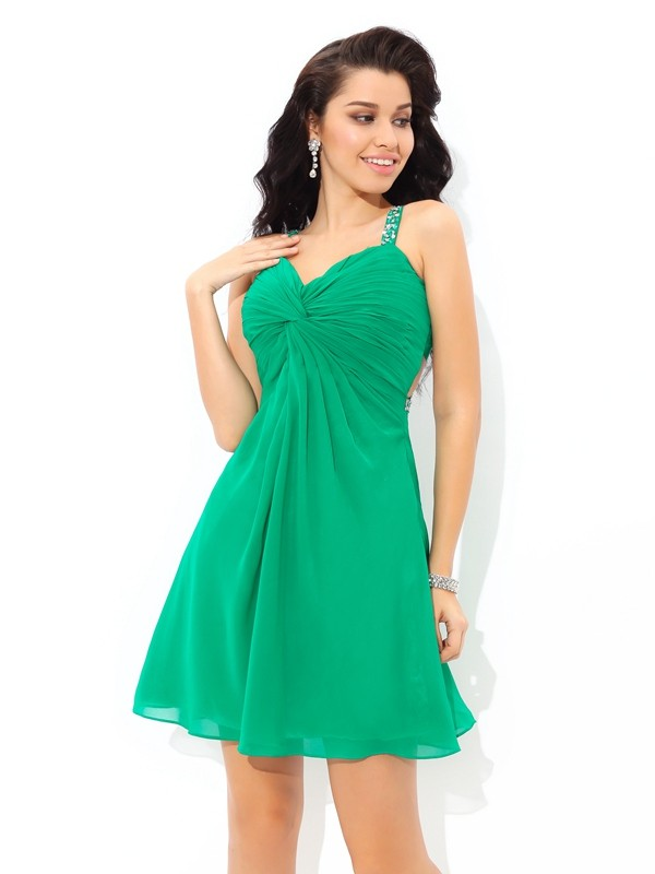 A-Line Chiffon Straps Sleeveless Short/Mini With Pleats Dresses