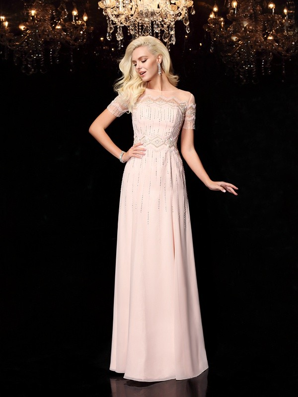 A-Line Chiffon Bateau Short Sleeves Floor-Length With Beading Dresses
