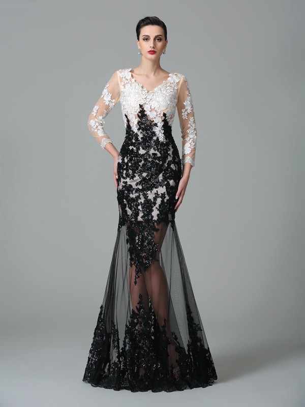 Sheath Net V-neck 3/4 Sleeves Floor-Length With Lace Dresses