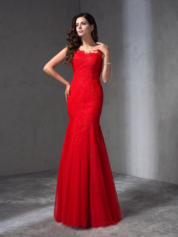 Sheath Lace Scoop Sleeveless Floor-Length With Applique Dresses