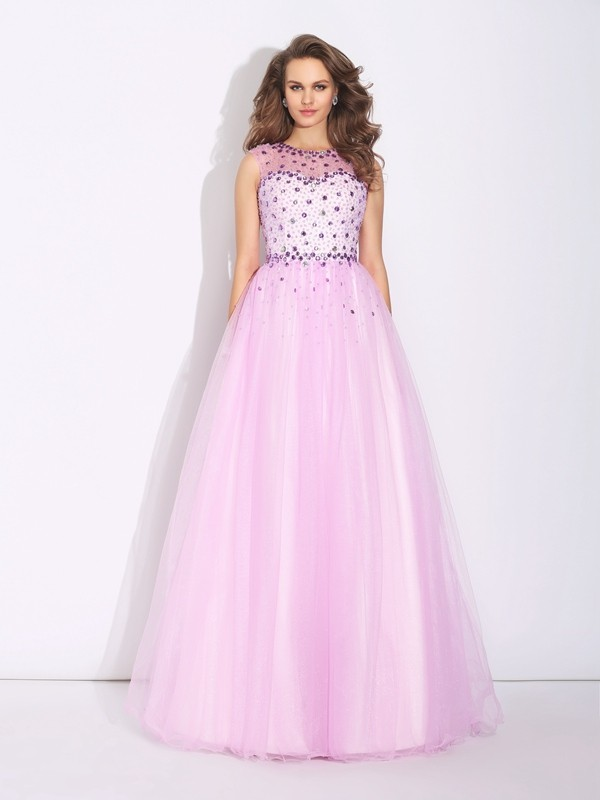 A-Line Net Jewel Sleeveless Floor-Length With Rhinestone Dresses
