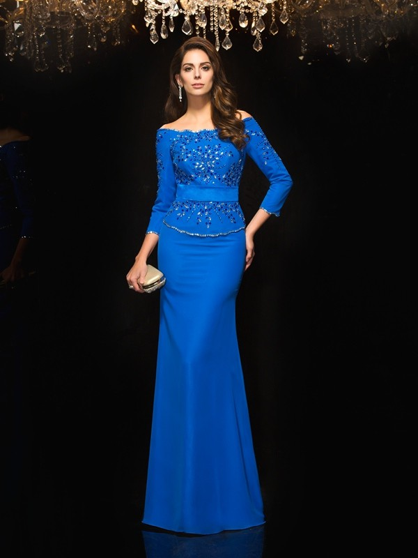Sheath Chiffon Off-the-Shoulder 3/4 Sleeves Floor-Length With Beading Dresses