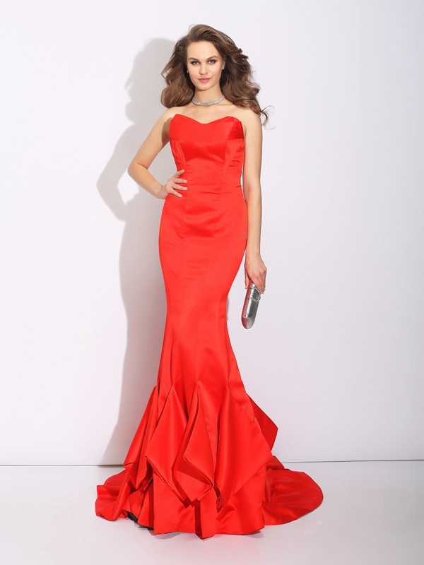 Mermaid Satin Sweetheart Sleeveless Court Train With Layers Dresses