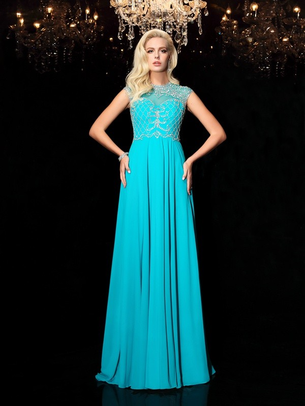 A-Line Chiffon Jewel Short Sleeves Floor-Length With Lace Dresses