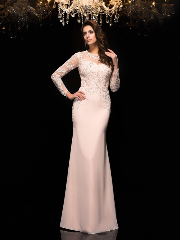 Sheath Chiffon Sheer Neck 3/4 Sleeves Floor-Length With Applique Dresses