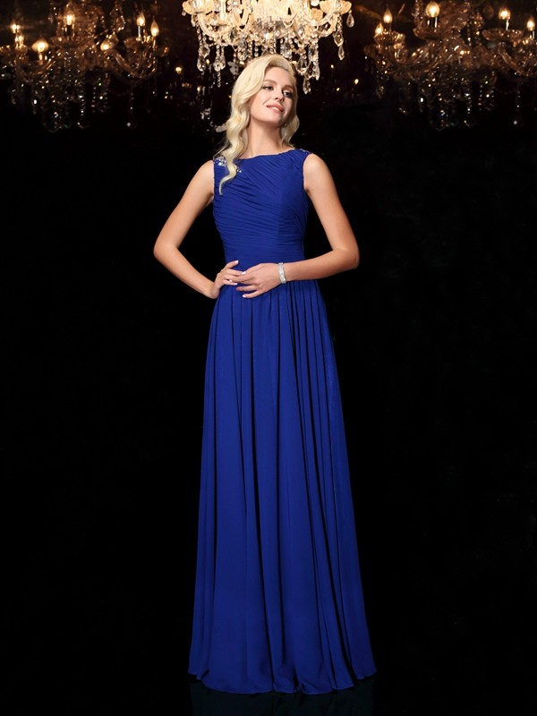 A-Line Chiffon Bateau Sleeveless Floor-Length With Rhinestone Dresses