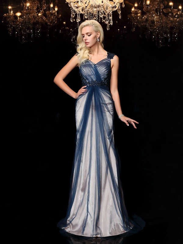 Sheath Elastic Woven Satin Straps Sleeveless Sweep/Brush Train With Applique Dresses