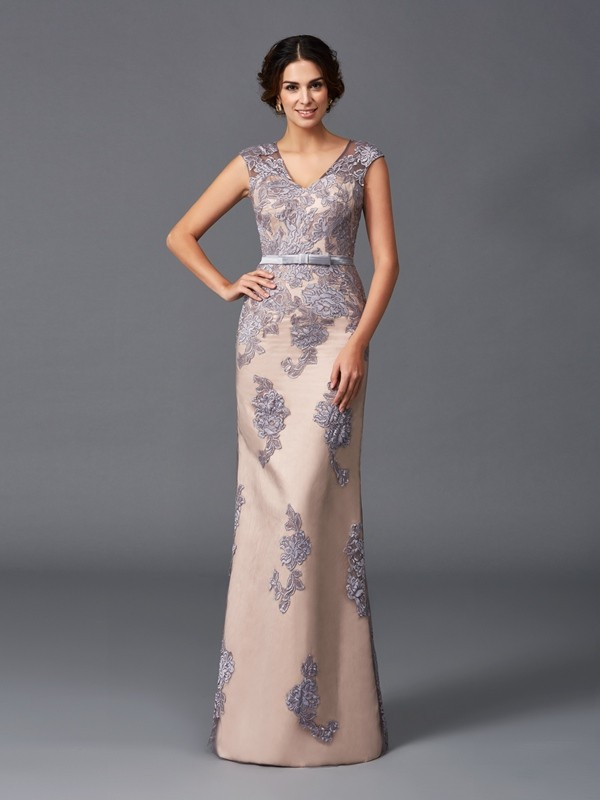 Sheath Satin Straps Sleeveless Floor-Length With Applique Dresses