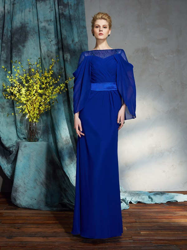 Sheath Chiffon Bateau Long Sleeves Floor-Length With Sash/Ribbon/Belt Dresses