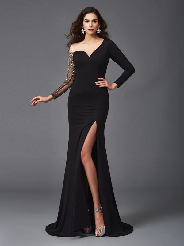 Sheath Spandex Scoop 3/4 Sleeves Sweep/Brush Train With Beading Dresses