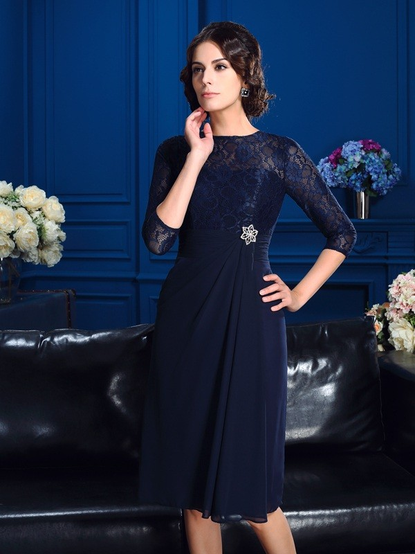 A-Line Chiffon Jewel 3/4 Sleeves Knee-Length With Lace Mother of the Bride Dresses
