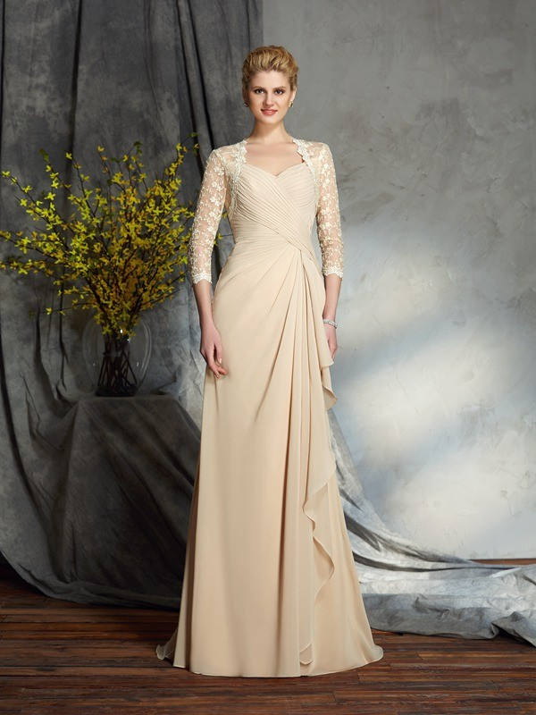 A-Line Chiffon Sweetheart 3/4 Sleeves Sweep/Brush Train With Lace Mother of the Bride Dresses
