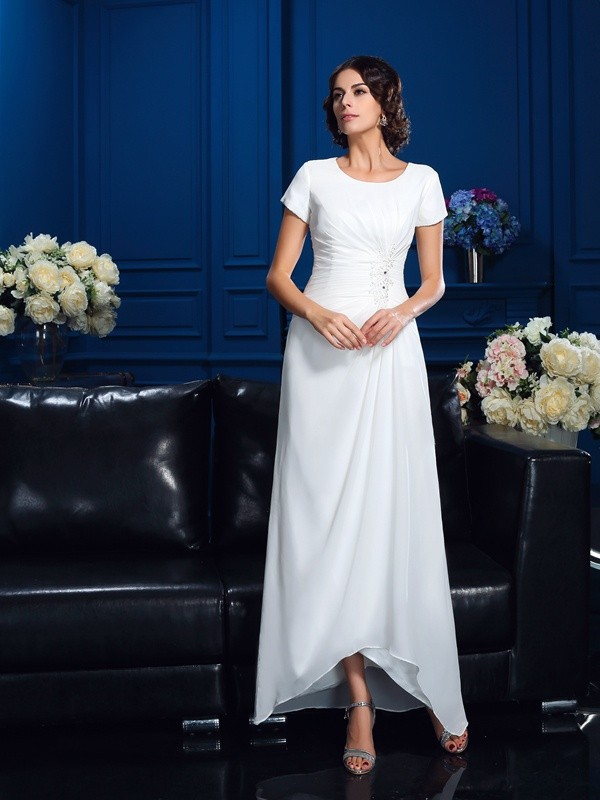 A Line Chiffon Scoop Short Sleeves Asymmetrical With Ruched Mother Of The Bride Dresses