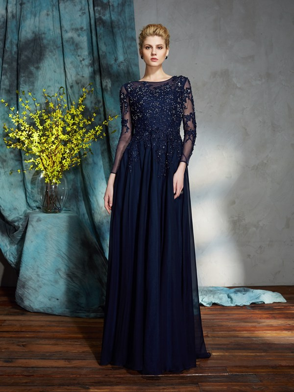 A-Line Chiffon Scoop 3/4 Sleeves Floor-Length With Applique Mother of the Bride Dresses