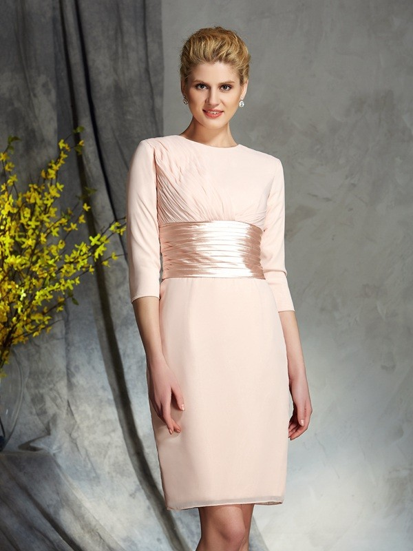 Sheath Chiffon Scoop 3/4 Sleeves Short/Mini With Sash/Ribbon/Belt Mother of the Bride Dresses