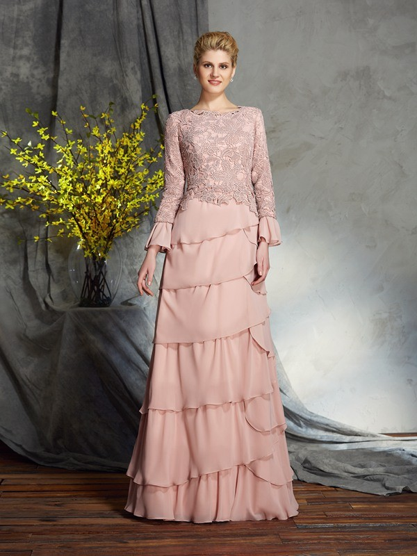 Sheath Chiffon Scoop Long Sleeves Floor-Length With Ruffles Mother of the Bride Dresses