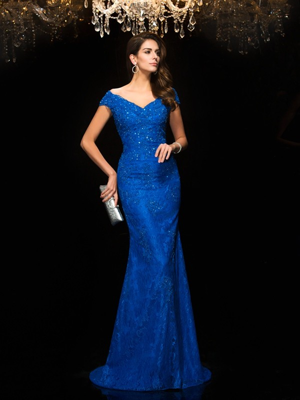 Mermaid Lace V-neck Sleeveless Sweep/Brush Train With Lace Mother of the Bride Dresses