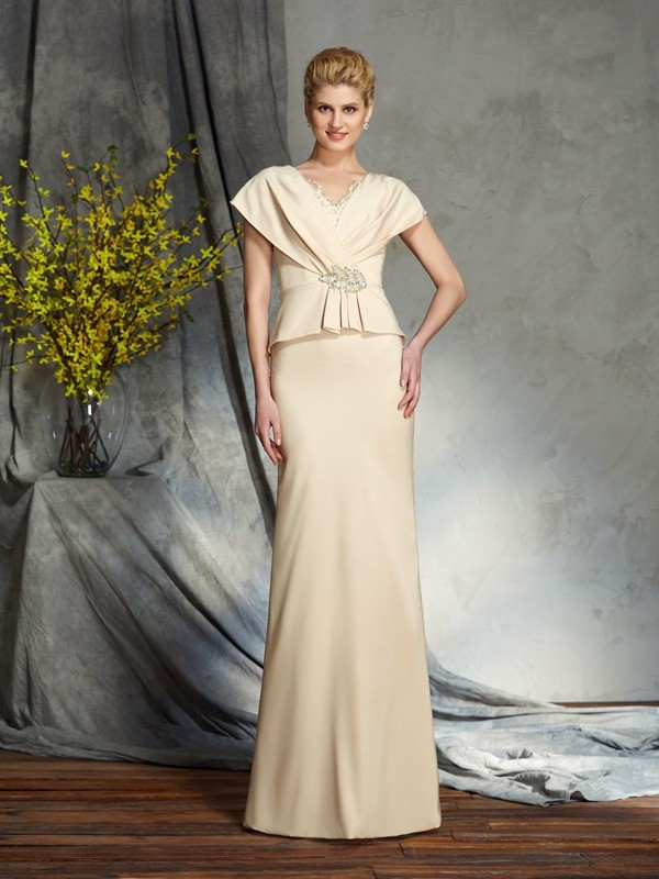 Sheath Silk like Satin V-neck Short Sleeves Floor-Length With Beading Mother of the Bride Dresses