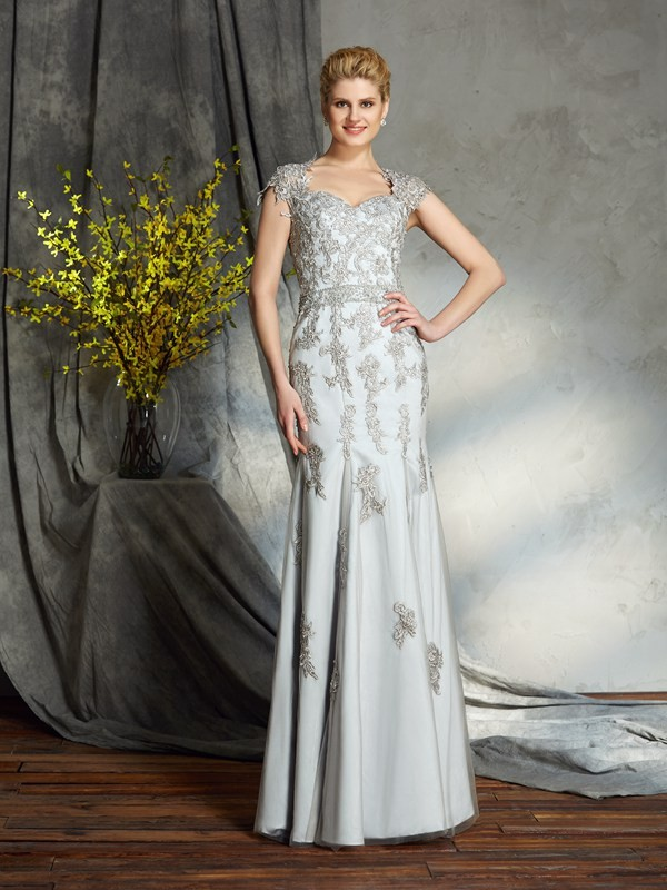 Sheath Satin Sweetheart Sleeveless Floor-Length With Applique Mother of the Bride Dresses