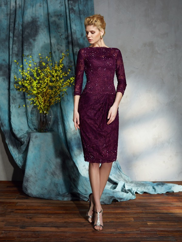 Sheath Lace Bateau 3/4 Sleeves Knee-Length With Lace Mother of the Bride Dresses