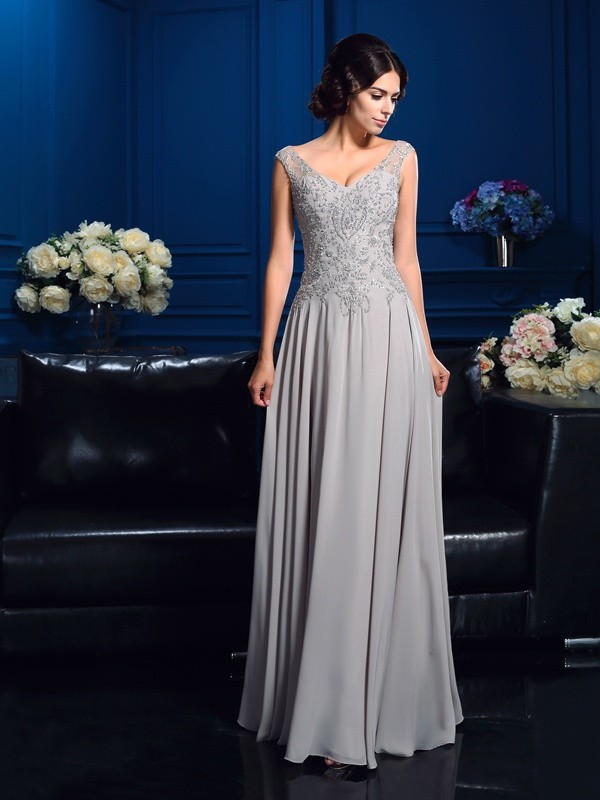 A-Line Chiffon V-neck Sleeveless Floor-Length With Beading Mother of the Bride Dresses