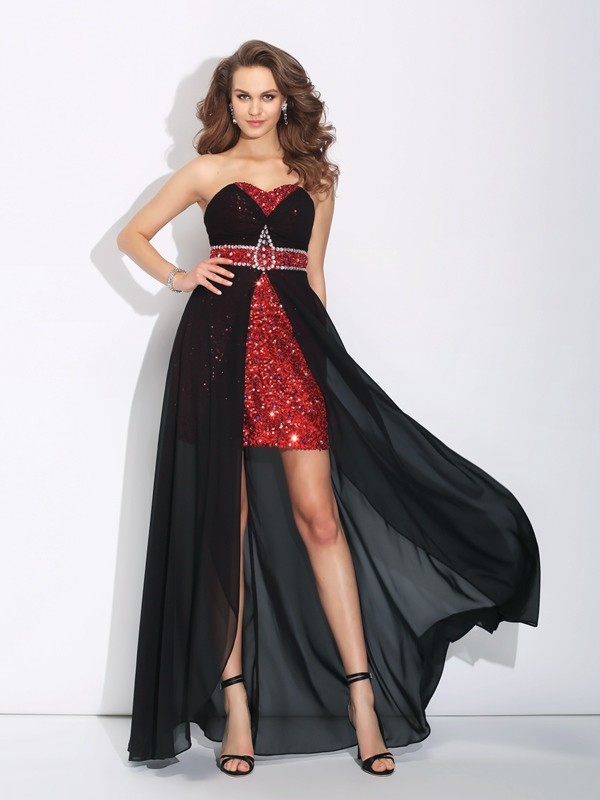 A-Line Chiffon Sweetheart Sleeveless Asymmetrical With Sequin Dresses