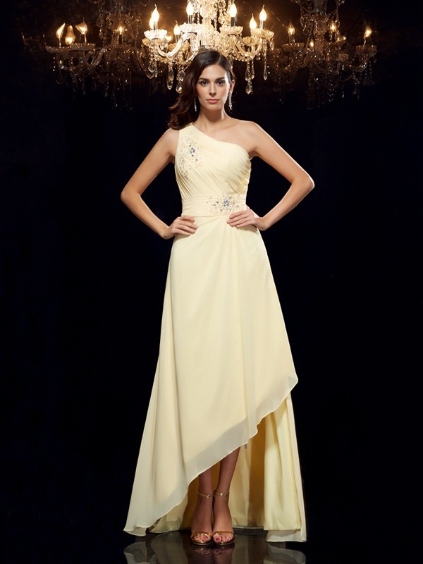 A-Line Chiffon One-Shoulder Sleeveless Asymmetrical With Beading Dresses