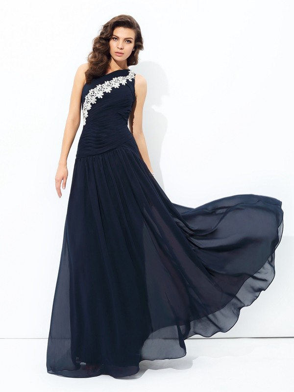 A-Line Chiffon One-Shoulder Sleeveless Floor-Length With Applique Dresses