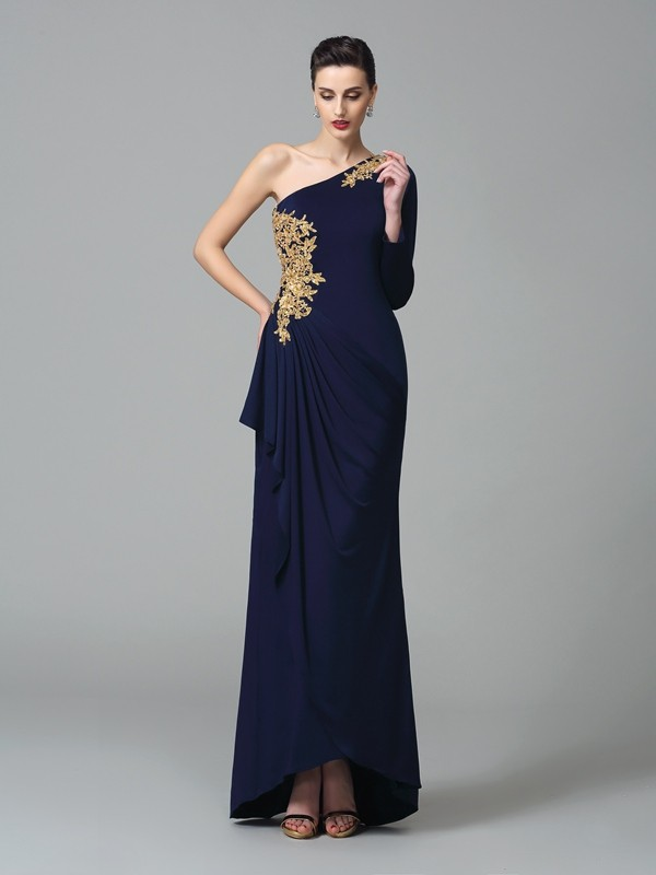 Sheath Spandex One-Shoulder Long Sleeves Floor-Length With Embroidery Dresses