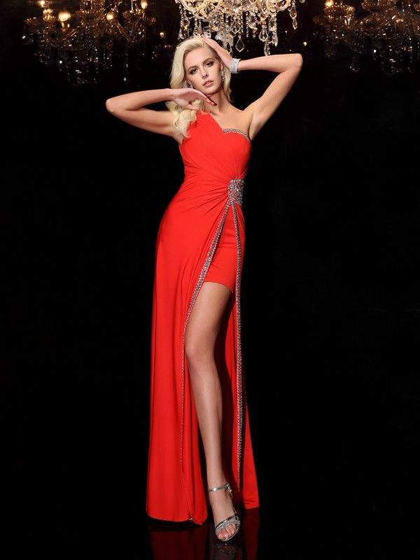 Sheath Spandex One-Shoulder Sleeveless Floor-Length With Beading Dresses
